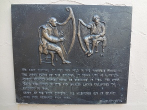 A Plaque to dedicate the Harp Festival which took place in 1792 in Belfast, recognised by Belfast City Council and Situated on Donegall street, Belfast City.