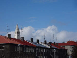 Colouful Rooftops with Church in Background
