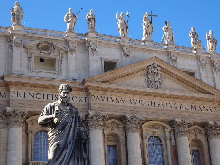 Statue of St. Peter in St. Peter's Square at the Vatican.