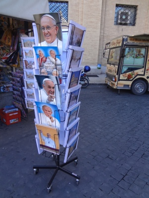 Picture souvenirs of Popes on sale