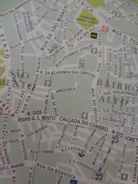 Map. See tram route: Rua de São Paulo (Rua Duarte Belo) - Largo de Calhariz.