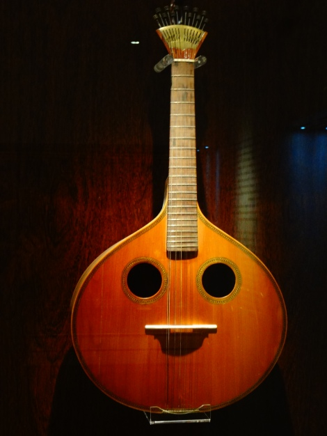 Museum displays early inventions of Portuguese Guitarra (Two sound holes)