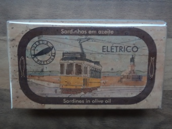 Eléctrico even appears on the front of Sardine boxes, Advertising Lisbon. Portugal known for Fish. Present for Dad.