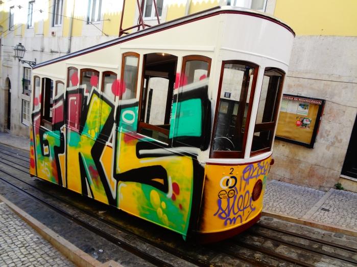 Side Shot of Lisbon Tram, Elevador da Bica.