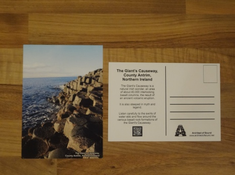 Design Two: Audio Postcard of 'The Giant's Causeway, County Antrim, Northern Ireland. (Front and Back).