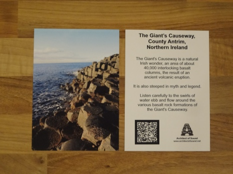 Design One: ( AOS Sound Card) 'The Giant's Causeway, County Antrim, Northern Ireland. (Front and Back)