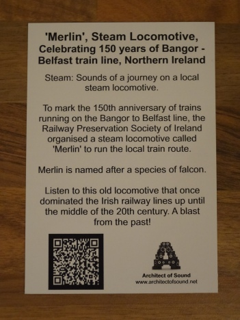 Back of Sound Card. You can see Text and Website and QR Code of 'Merlin', Steam Locomotive Celebrating 150 years of Bangor - Belfast train, Northern Ireland.