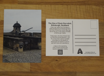 Design 2: Audio Postcard of The One O'Clock Gun-shot, Edinburgh, Scotland. Notice the front is labeled on bottom right corner and the back has text, QR Code and room for writing address.