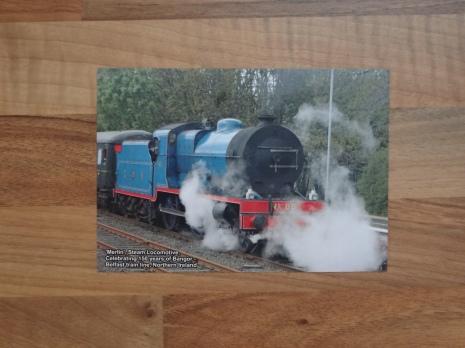 Design Two: 'Merlin' Steam Locomotive, Celebrating 150 Years of Bangor – Belfast train line, N.Ireland (Front)