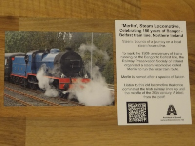 Front and Back of Sound Card of 'Merlin', Steam Locomotive Celebrating 150 years of Bangor - Belfast train, Northern Ireland.