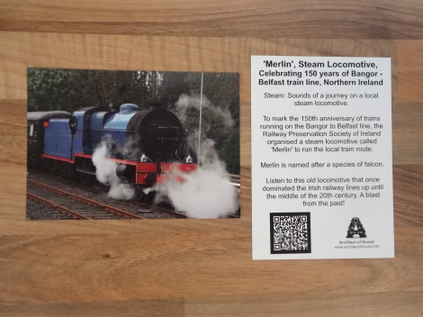 Design One: AOS Sound Card 'Merlin' Steam Locomotive, Celebrating 150 years of Bangor - Belfast train line, Northern Ireland. (Front and Back)