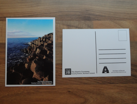 Design Three: Audio Postcard of 'The Giant's Causeway, County Antrim, Northern Ireland. (Front and Back).