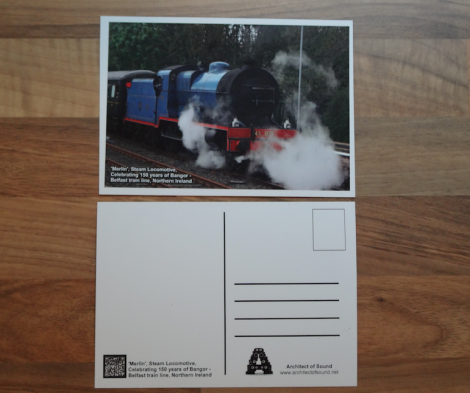 Design Three: 'Merlin' Steam Locomotive, Celebrating 150 Years of Bangor – Belfast train line, Northern Ireland (Front and Back)