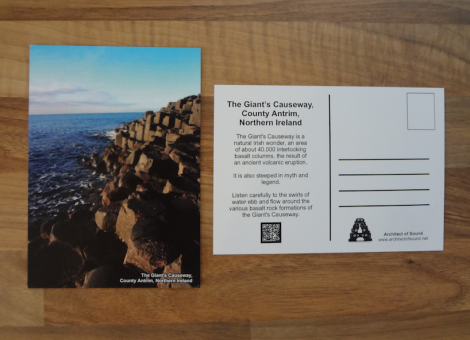 Design Two: 'Audio Postcard' of The Giant s Causeway, County Antrim Northern Ireland. (Front and Back)