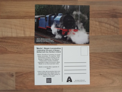 Design Two: 'Merlin' Steam Locomotive, Celebrating 150 Years of Bangor – Belfast train line, Northern Ireland (Front and back)