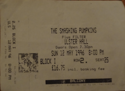 The Smashing Pumpkins, 12th May 1996. The Ulster Hall. (Photocopy) Concert canceled because fan died on Dublin night before.