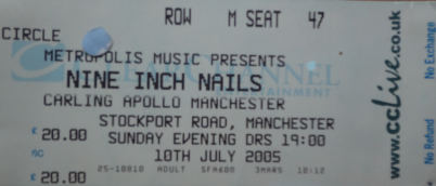 Nine Inch Nails, 10th July 2005. Carling Apollo Manchester.