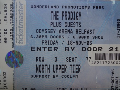 The Prodigy, 18th November 2005. Odyssey Arena Belfast.