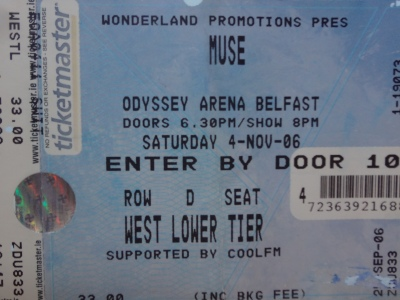 Muse, 04th November 2006. The Odyssey Arena Belfast. N.Ireland.