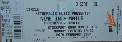 Nine Inch Nails, 26th February 2007. Manchester Apollo.