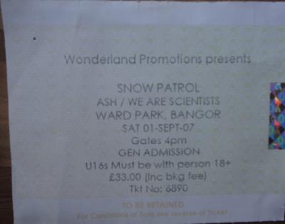 Snow Patrol, 1st September 2007, Ward Park, Bangor.