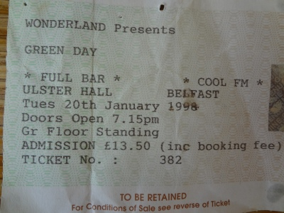 Green Day, 20th January 1998. The Ulster Hall.