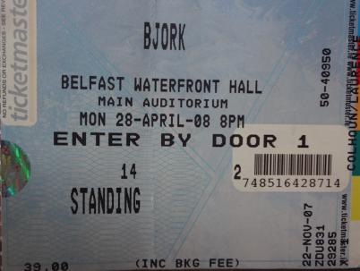 Bjork, 28th April 2008. Waterfront Hall, Belfast.