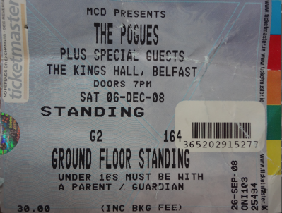The Pogues. 6th December 2008. The Kings Hall, Belfast.