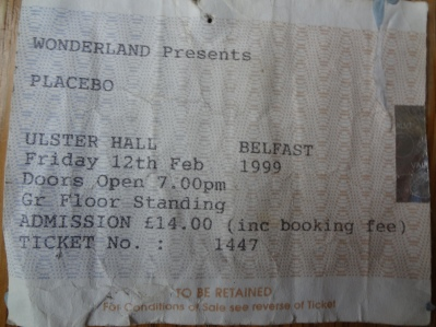 Placebo, 12th February 1999. The Ulster Hall.