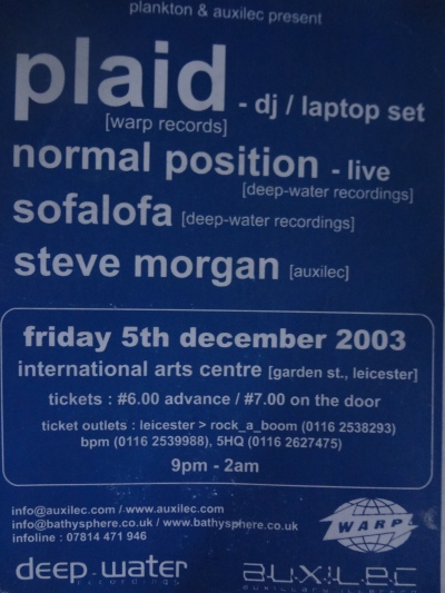 Plaid, International Arts Centre, Leicester City. 5th December 2003.
