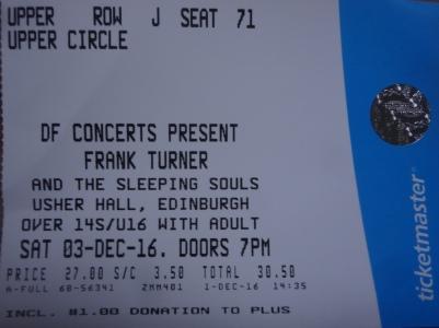 Frank Turner and the Sleeping Souls, Usher Hall. Edinburgh, Scotland. 03-12-16.