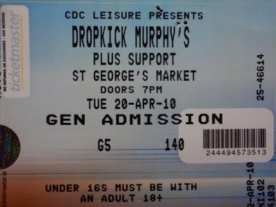 Dropkick Murphy's, St George's Market, 20th April 2010. Belfast, N.Ireland.