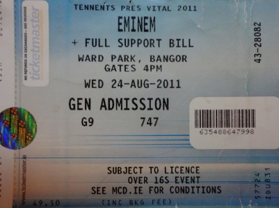 Eminem, Ward Park, 24th August 2011, Bangor, N.Ireland.