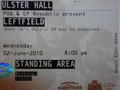 Leftfield, 02nd June 2010, Ulster Hall, Belfast, N.Ireland.