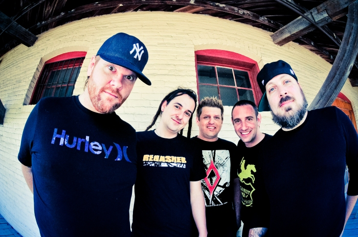 "Less than Jake, Left to Right, Peter ""JR"" Wasilewski, Roger Lima, Chris DeMakes, Buddy Schaub and Vinnie Fiorello."