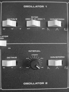 Oscillator 1 and Oscillator 2 on Moog Prodigy.