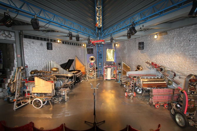 The Robot Orchestra at Logos Foundation Performance space. The largest Robot Orchestra in the World.