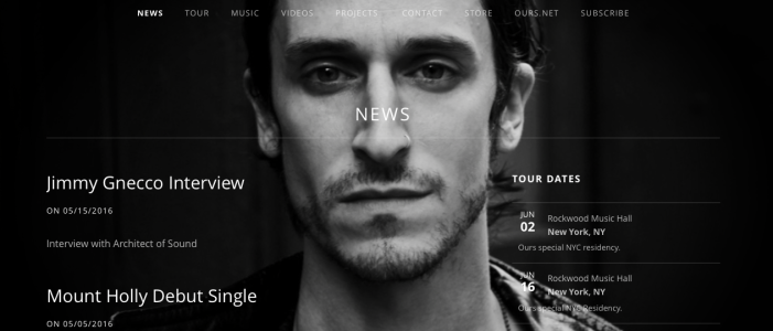 Mention of 'Architect of Sound 'Interview with Jimmy Gnecco / OURS on website.