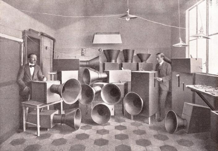 Luigi Russolo and Ugo Piatti with noise machines, Milan, 1913.