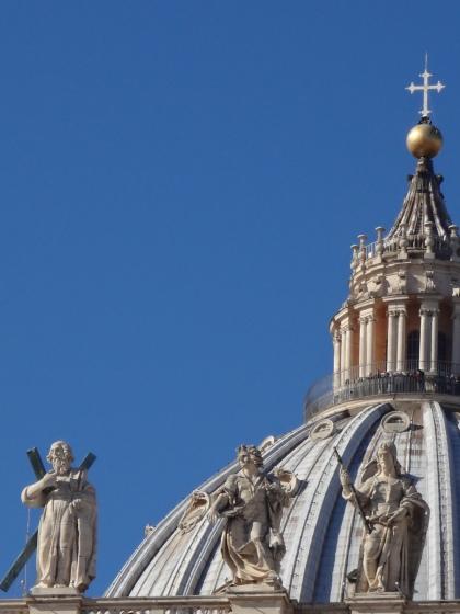 St. Peter's Basilica, Rome. Italy. Architecture by Donato Bramante, Michelangelo, Antonio da Sangallo the Younger, Giacomo Barozzi da Vignola, Carlo Maderno, Gian Lorenzo Bernini,
