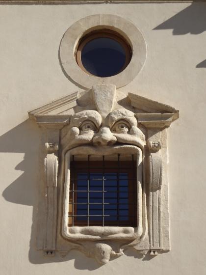 Orge window of Palazzo Zuccari, Rome, Italy.