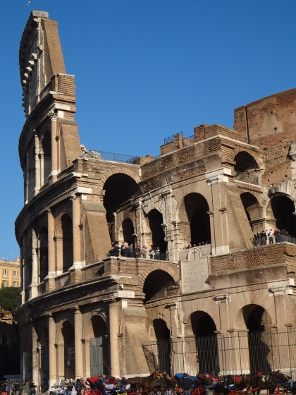 Side view: The Colosseum, Rome, Italy. Architecture by Vespasian and Titus.