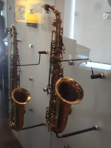 Alto and Tenor Saxophones, displayed in MIM in Brussels, Belgium.