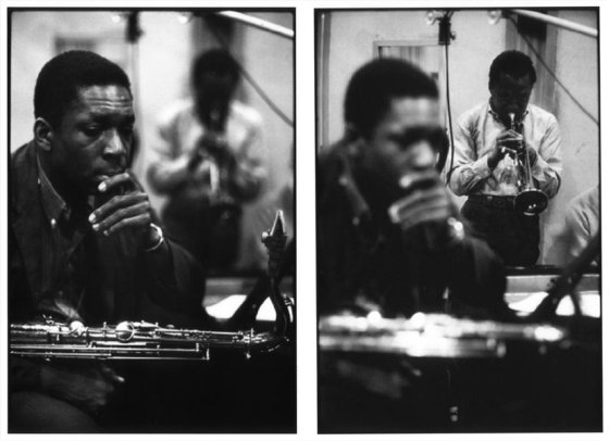 John Coltrane and Miles Davis, Columbia Recording Studios, New York City. Photographs by Don Hunstein.